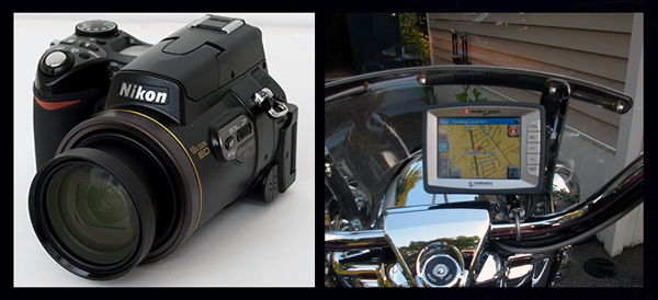 Nikon 8800 & iWay 500 on my Harley