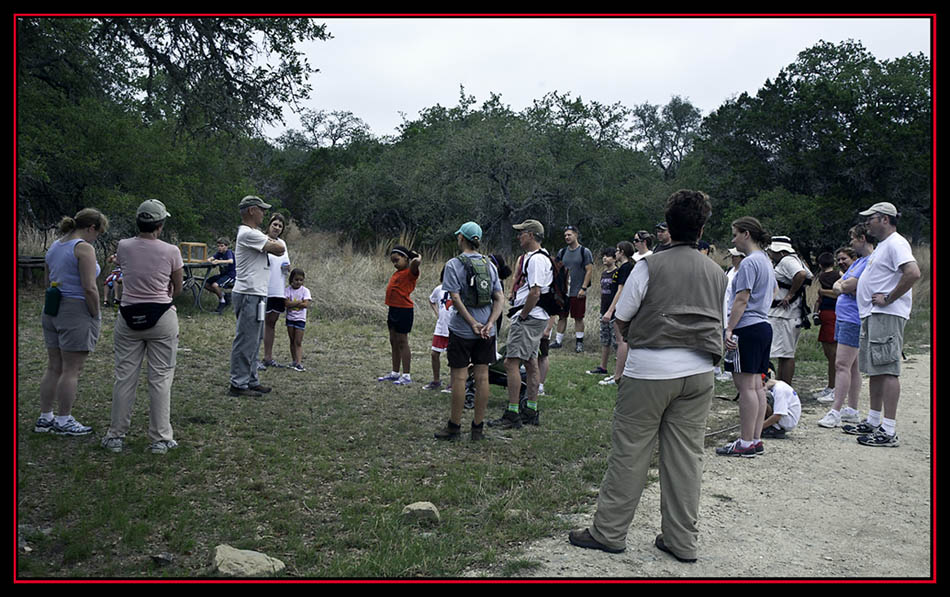 The Tour Group at a Stop - Honey Creek State Natural Area