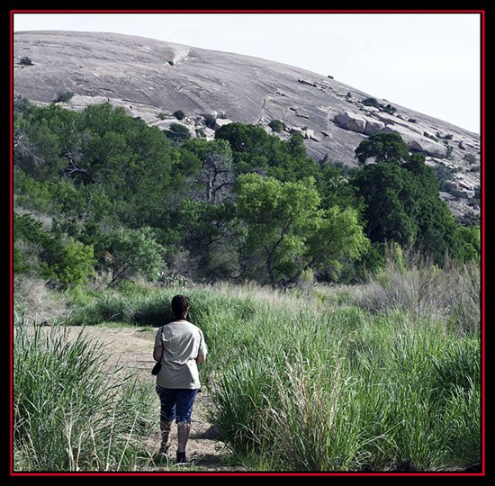 Linda on the Prowl Seeking Birds - Enchanted Rock State Natural Area - Fredericksburg, Texas