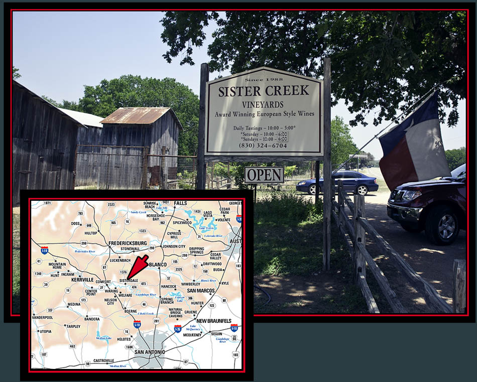 Sister Creek Vineyards and Sisterdale, Texas Location Map