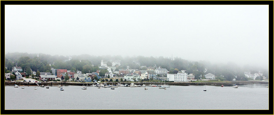 Foggy Morning View of Bucksport from Fort Knox