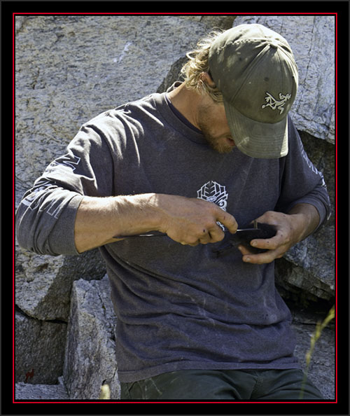 Nathan Banfield Measuring a Black Guillemot Chick - Matinicus Rock