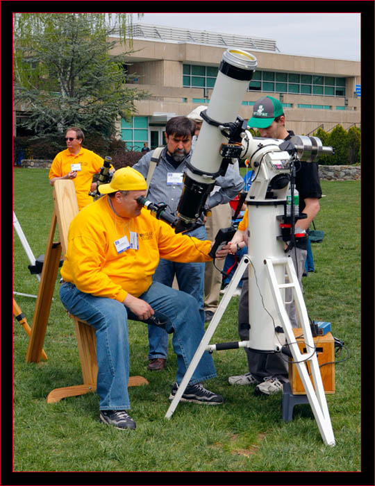 A-P solar set up - Dan Carnevale at the telescope while Eric Baumartner looks on