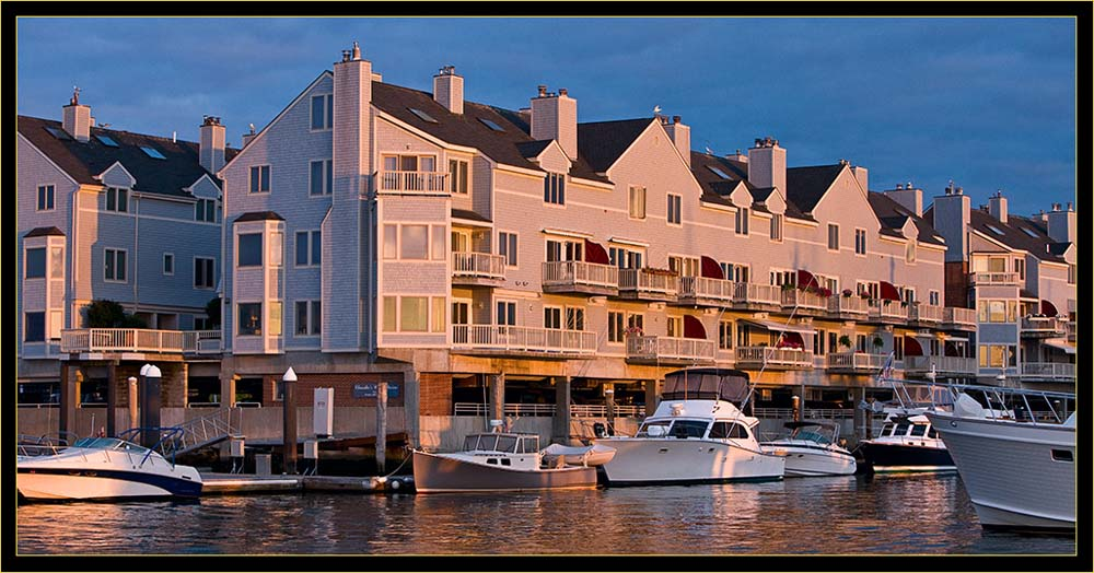 Looking back at Chandler's Wharf in golden light