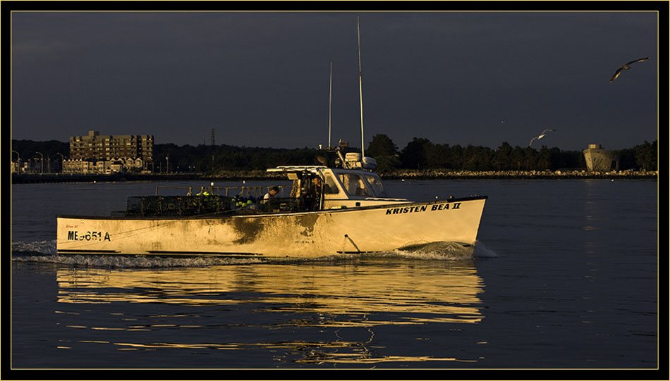A Lobster boat illuminated in early light
