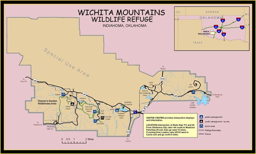 Wichita Mountains Wildlife Refuge Site & Location map