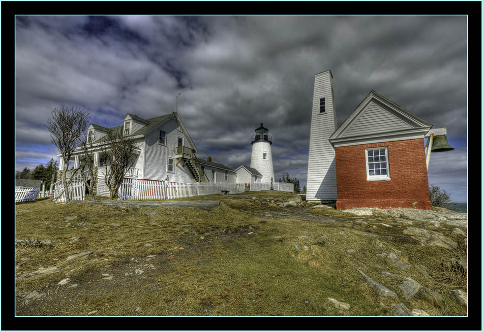 17mm HDR View of the Light and Buildings - Pemaquid Point - Bristol, Maine