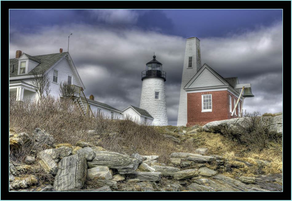 HDR View Light, Ledge and Buildings - Pemaquid Point - Bristol, Maine