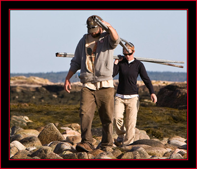 Brian Allen & Janice Carrying in the Fencing - Petit Manan Island - Maine Coastal Islands National Wildlife Refuge