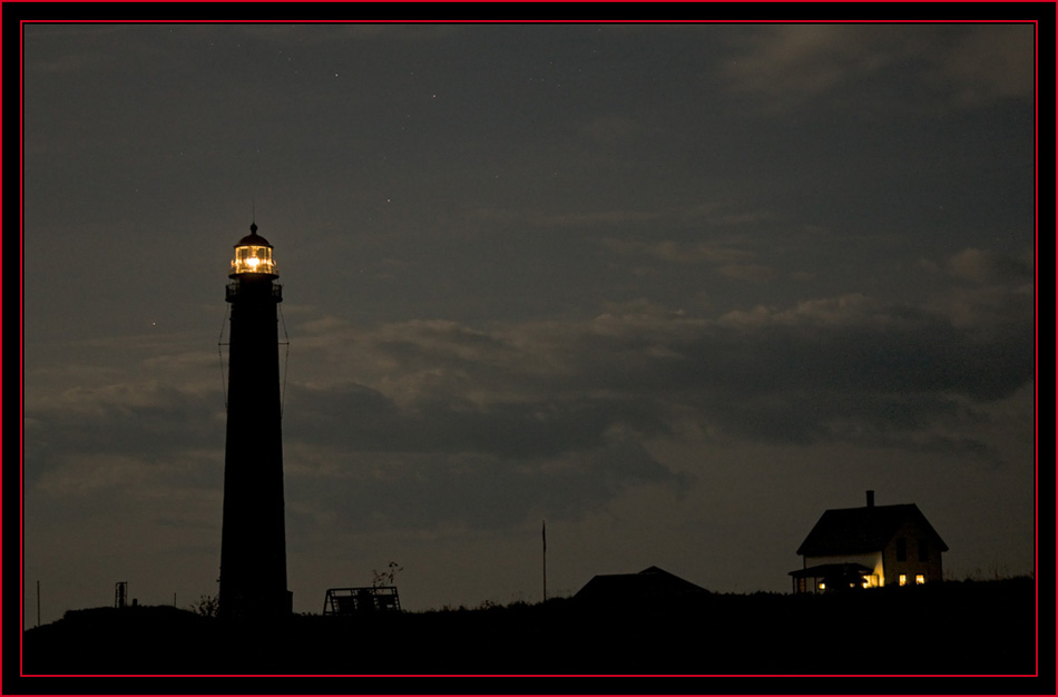 Nighttime View of the Lighthouse & Keeper's House - Petit Manan Island - Maine Coastal Islands National Wildlife Refuge