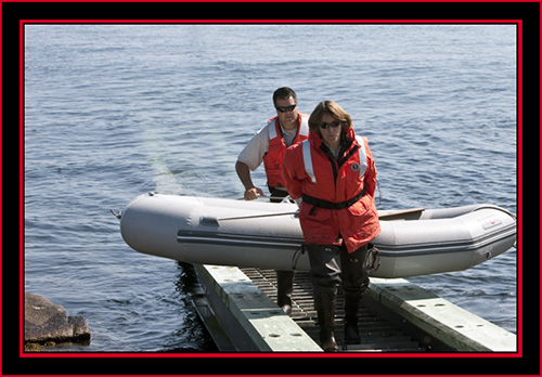 Jim & Linda Bringing the Inflatible Ashore - Maine Coastal Islands National Wildlife Refuge