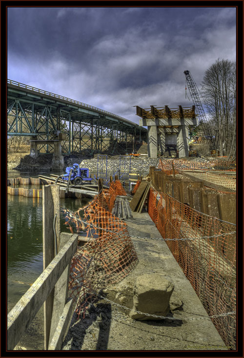 Present Bridge and New Construction Over the Presumpscot River - Falmouth, Maine