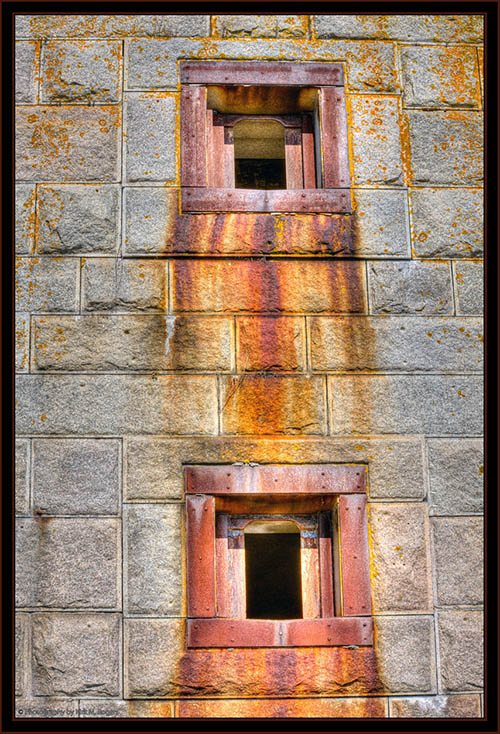 Gunports in HDR - Fort Popham, Maine