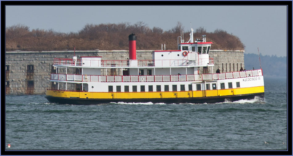Ferry Aucocisco III Passing Fort Gorges