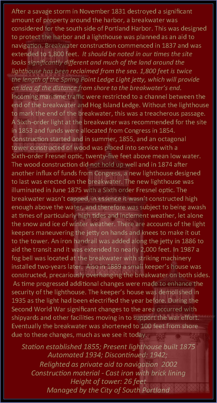 A Brief History of Portland Breakwater Lighthouse - South Portland, Maine