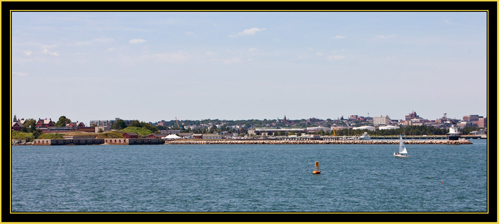 View of Fort Preble and the Jetty at Spring Point Ledge Light