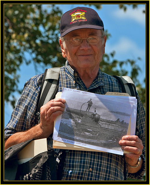 Dr. Joel W. Eastman with Rodman Canon Photograph - Fort Scammell on House Island