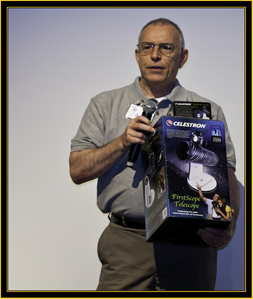 Ron Thompson with a Gift from Southern Maine Astronomers - Space Day 2011